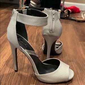 Light grey textured heels